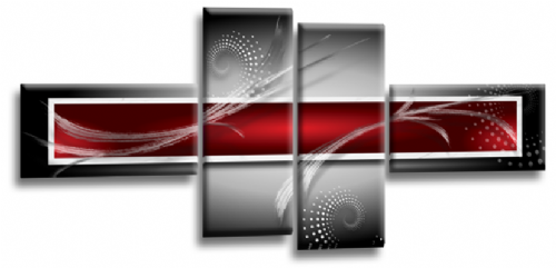 Abstract Canvas Wall Art Print Red Grey White Picture